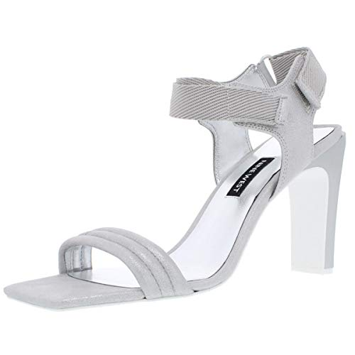 NINE WEST Womens Zebree Open Toe Special Occasion, Silver Metallic, Size 8.0