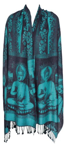 Buddha Meditation Prayer Shawl Yoga Wrap Cover (Turquoise)