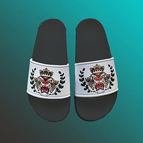 Verano Antideslizante Sandalias Pareja de Dibujos Animados al Aire Libre Sandalias,Hombre Mujer Baño Ducha Zapatillas de baño Playa Piscina Zapatos Negro EU36