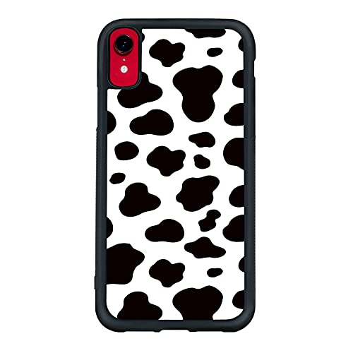 Cow Phone Case iPhone XR - Shockproof Protective Cute Cool Cow Print Phone Case Designed for iPhone XR 6.1 Inch Case for Man Girls Women Child Black White