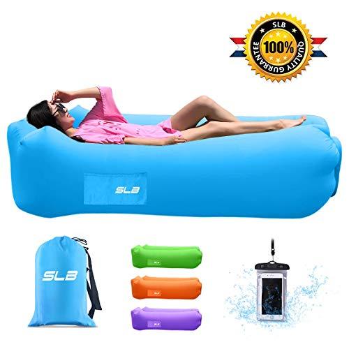 SLB Luftsofa mit integriertem Nackenkissen, Air Sofa Lounger aufblasbar wasserdicht Luft Couch Liege für Strand Freibad Camping Park Garten Ausflüge - Belastbarkeit bis zu 200KG (Blue)
