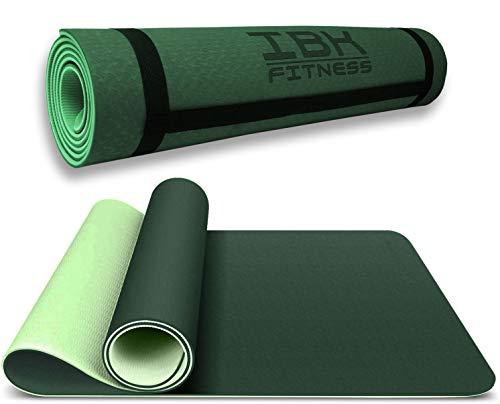IBK FITNESS - Tappetino antiscivolo ecologico in tpe per palestra e ginnastica tappeto materassino (Verde)