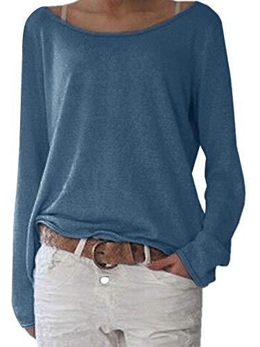 ZANZEA Damen Langarm Lose Bluse Hemd Shirt Oversize Sweatshirt Oberteil Tops Blau L