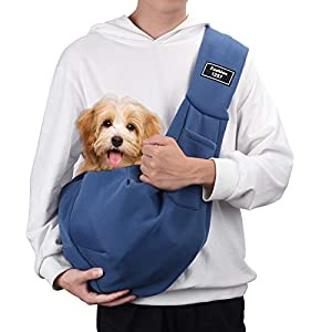 PERSUPER Pet Sling Carrier Wide Shoulder Strap Dog Sling Carrier for Small Dogs Puppy Cat Rabbit Outdoor Travel Soft Pouch Hands-Free(Blue)