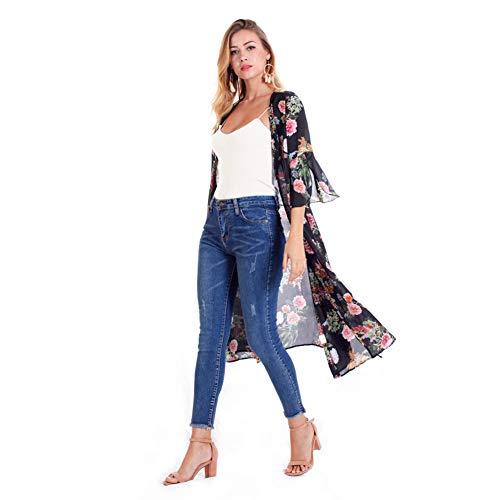 YYH Dames gebreide jas met bloemenpatroon chiffon kimono cardigan met sjaal overstijgt blouses strandjurk Medium zwart