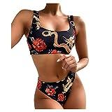 Keepwin Bikinis Mujer Brasileñas Push Up Dragón Floral Estampadas Conjunto de Ropa de Baño Mujer Bañador 2 Piezas Cami Braguita Talle Alto Trajes de Baño Natacion Playa (Negro, x-Large)