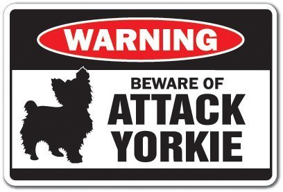 Home Decor Schild Beware of the Attack Yorkie Warnschild Tiere Hunde Yorkshire Terrier Metall Schild für Outdoor Yard Sicherheit Schild Aluminium Schilder