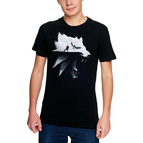 Cotton Division Witcher camiseta para hombre de la silueta del lobo Geralt de algodón negro Riva Wild Hunt - L