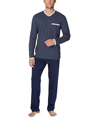 Calida Herren Anthony Pyjama Zweiteiliger Schlafanzug, Mehrfarbig (Dark Blue 449), Small