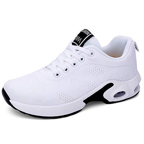 XPERSISTENCE Damen Sport Straßenlaufschuhe Bequem Luftkissen Atmungsaktiv Mesh Mode Jogging Freizeitschuhe Turnschuhe Weiß 39 EU