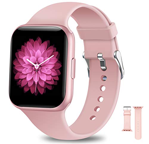 NAIXUES Smartwatch, Orologio Fitness Donna Impermeabile IP68 Smart Watch Bluetooth Cardiofrequenzimetro da Polso Contapassi Calorie Smartband Activity Tracker per Android iOS (Rosa)