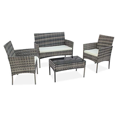 YUMUO 4-Piece Wicker Patio Conversation Furniture Set,Outdoor Bistro Table Set Sofa Garden Front Porch Furniture for Yard,Pool Or Backyard