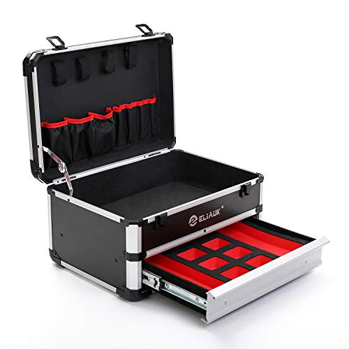 ELIAUK Portable Aluminum Toolbox with Drawer Storage Carrying Toolbox