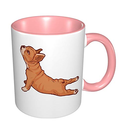 French Bulldog Yoga Dog Funny Coffee Tea Mug Personalised Mug Novelty Gift For Christmas Pink