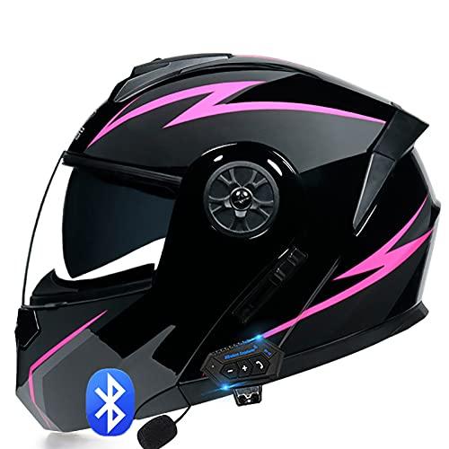 Casco de Moto Modular Bluetooth Integrado con un Micrófono Incorporado Anti Niebla Visera Doble para Adultos, Mujeres y Hombres ECE Homologado C,XL=61~62cm