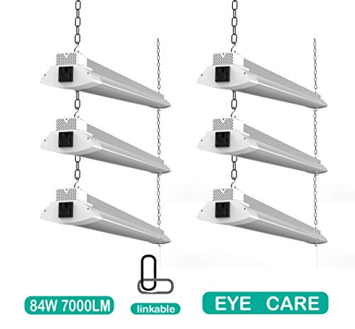 6 Pack 84W Linkable LED Shop Light for Garages, 4FT 7000LM Daylight White, Utility Shop Light, Under Cabinet Light and LED Ceiling Lights, Hanging or Flush Mount, with Plug and Pull Chain
