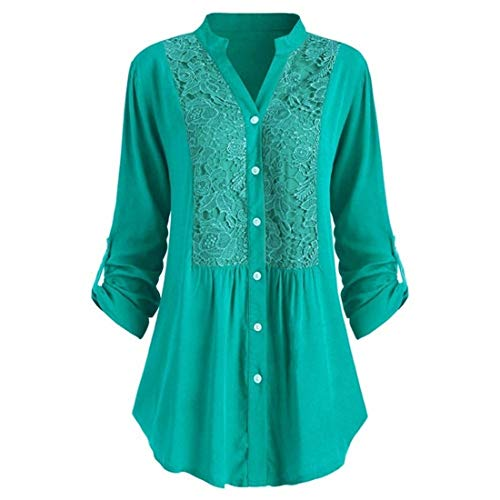 HJHK T Shirt Women Long Sleeve Solid Color Sexy V Neck Lace Button Patchwork Loose Stretch Shirt Business Casual Fashion Retro Sweatshirt Top Autumn New Christmas Blouse L