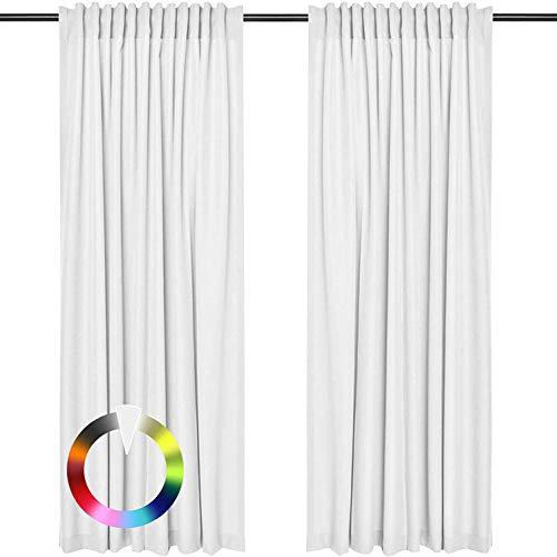 Rollmayer Vorhänge mit Tunnelband Kollektion Vivid (Weiß 1, 135x240 cm - BxH) Blickdicht Uni einfarbig Gardinen Schal für Schlafzimmer Wohnzimmer