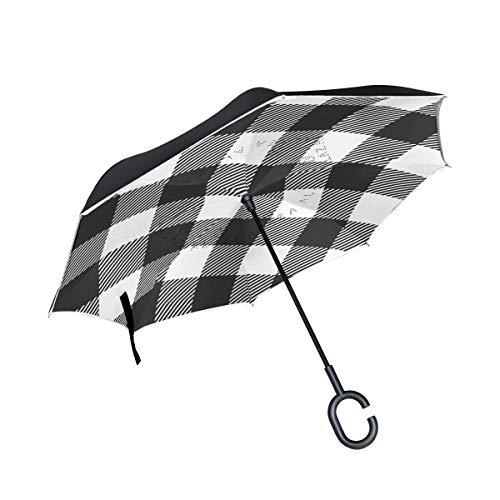 Double Layer Inverted Umbrella Winddichte Regensonnen-Regenschirme mit C-förmigem Griff - weißes und schwarzes Buffalo Check Plaid