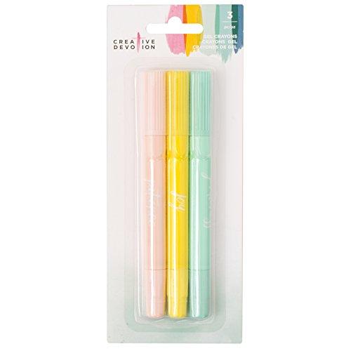 American Crafts 3 Piece Gel Crayon Set 2 Creative Devotion, Multicolor
