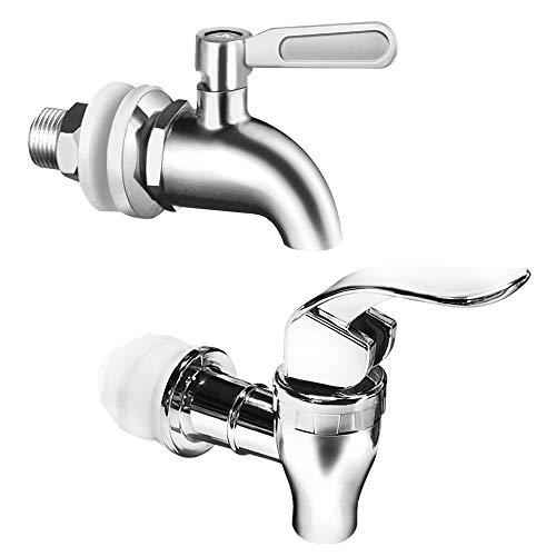 Set of 2, Beverage Dispenser Replacement Spigot, SourceTon Stainless Steel Spigot and Plastic Spigot, Dispenser Replacement Faucet