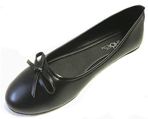 Shoes 18 Damen Ballerinas, Ballerinas, flach, Leoparden- und einfarbig, 14 Farben, Schwarz (schwarz), 38.5 EU