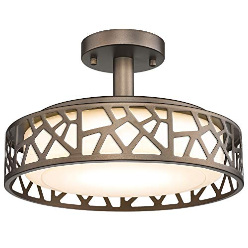Semi Flush Mount Ceiling Light, VICNIE 14inch Close to Ceiling Lighting, 20W LED Dimmable Lmap Fixture, 3000K Warm White, ETL Listed, Oil Rubbed Bronze Finish Metal Frame and Acrylic Shade