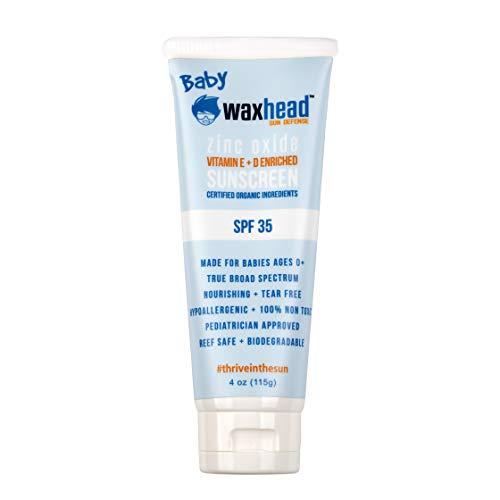 Waxhead Sunscreen for Infants - Sunscreen Baby, Eczema Sunscreen, Baby Sunscreen Natural, Zinc Oxide Baby Sunscreen, Kid Safe Sunscreen, Sensitive Skin Sunscreen, EWG Rated 1 (SPF 35, 4oz)