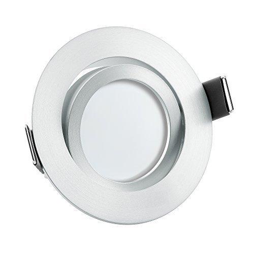 10x dimmbare, ultra flache (25mm) LED Einbau-Strahler | 6W statt 70W | 230V | 2700 Kelvin | warmweiße Lichtfarbe | Leuchtdiode in mattem Aluminium Design | 10er Set 2700K