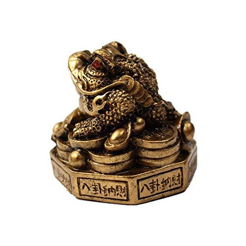 Feng Shui Geldfrosch aus Kunstharz (dreibeiniger Kröte/Reichtumfrosch), Figur auf Sockel, Dekoration (Bronze, S)