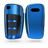 kwmobile Funda para Mando Compatible con Audi Llave de Coche Plegable de 3 Botones - Funda TPU Llave con Botones de Llave de Auto - Azul Brillante