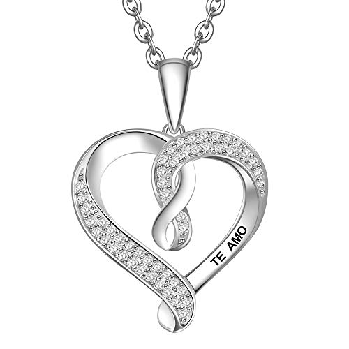 ENGSWA Collar Mujer Plata de Ley 925 Colgante Corazón con Infinito Grabado Regalo para Mamá Abuela Hija Niña Esposa Novia