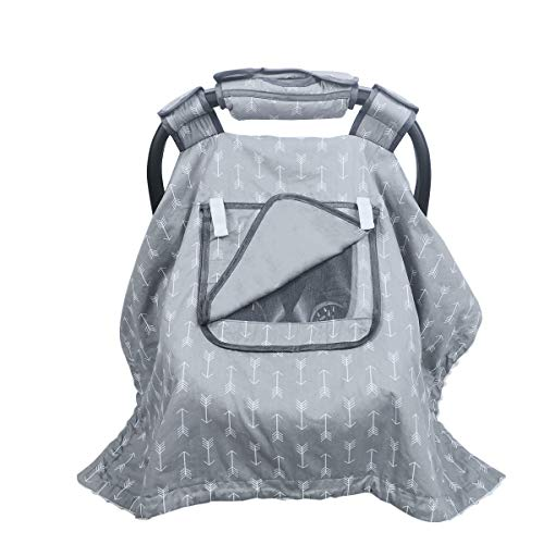 Car seat Covers for Babies boy Girl, Carseat Canopy for Newborn Carrier, 2 Layers Windows of mesh/Fabric, No Shifting on Carrier Handle, Cotton and Fleece, Handle Cushion, White Minky