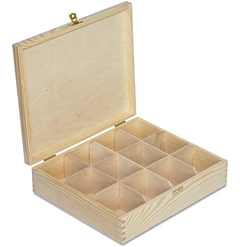 Creative Deco Tee-Box aus Natürliches Kiefernholz | 29 x 25 x 7,5 cm | mit 12 Fächer und Deckel | Tee-Organizer | Perfekte Tee-Kiste für Decoupage, Dekoration Lagerung der Teebeutel