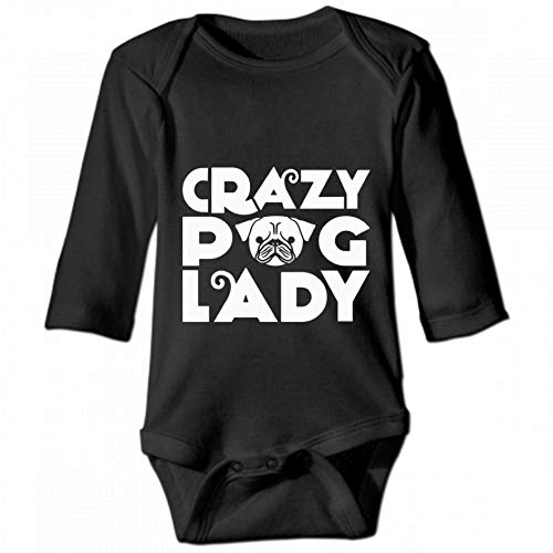 Crazy Pug Lady Unisex Baby Round Neck Long Sleeve Bodysuit, Fashion Casual Baby Climbing Suit 18M