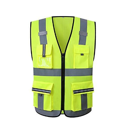 Lantra Besa Damen Herren Sicherheitsweste Warnweste Unfallweste für Auto Sport Radfahren und Joggen mit Reißverschluss und Taschen Hohe Sichtbarkeit Gelb AR0015 - Nicht-Standardgröße L