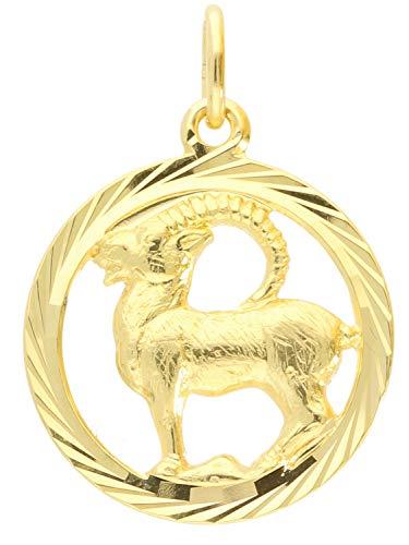 Sternzeichen Anhänger Steinbock (Ohne Kette) Gelbgold 333 Gold (8 Karat) Ø 15mm Rund Tierkreiszeichen Horoskop Sternbild Goldanhänger Gavno A-04433-G302-Ste