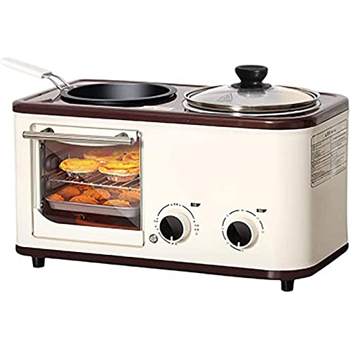 Breakfast Helper ctional Tostadora Mini Horno con Mini Cocina eléctrica con Platos Calientes Dobles y Parrilla Máquina de Desayuno 4 en 1 Temperatura Ajustable