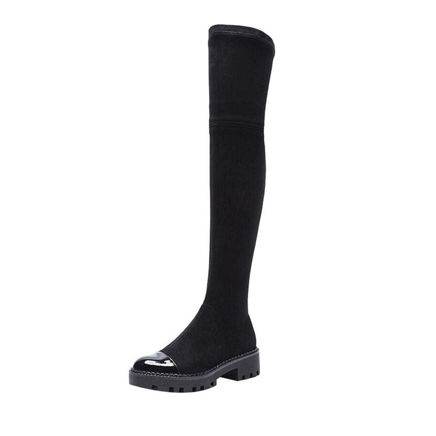 嫌がらせ小麦見る2018膝の上にブーツ冬新スタイルストレッチロングシューズ女性弾性ブーツプラットフォームシューズ女性のスクエアヒール (色 : ブラック, サイズ : 37)