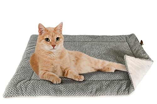 FLUFFINO® Katzendecke - Flauschig, Weich u. Waschbar (73 x 45 cm, grau) - Wildlederimitat für erhöhte Rutschfestigkeit - Für Katzen o. kleine Hunde - Katzenmatten/Katzenkissen/Katzenkorb, Katzendecke
