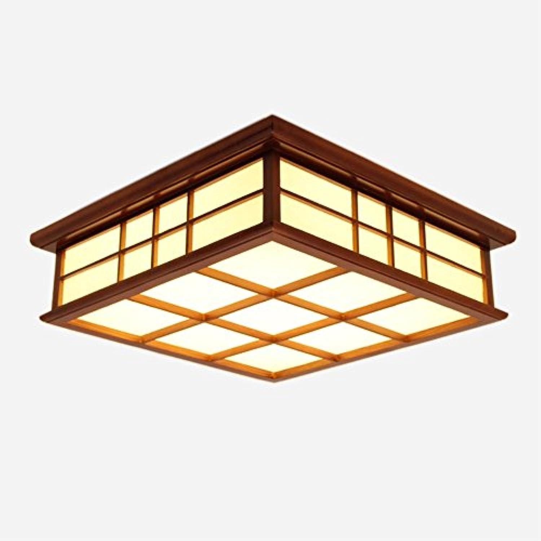 Wandun Deckenleuchte Mahagoni Deckenlampe Holz Licht Quadratisch Deckenleuchte Einfach Modern Stil LED Deckenleuchte Wohnzimmer Schlafzimmer Balkon Innenlicht (Farbe   Warmes Licht, Gre   35CM)