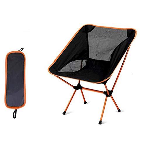 NBVCX Decoración de Muebles Silla de Camping Sillas Plegables ultraligeras portátiles al Aire Libre para Pesca en la Playa Senderismo Picnic con Mochila Capacidad de 100 kg (Color: Naranja)