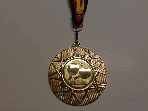 Fanshop Lünen 20 x Medaillen aus Metall 50mm - mit Einem Emblem, Tischtennis - TT - Logo - inkl. Medaillen Band - Farbe: Gold - mit Emblem 25mm - (e225) -
