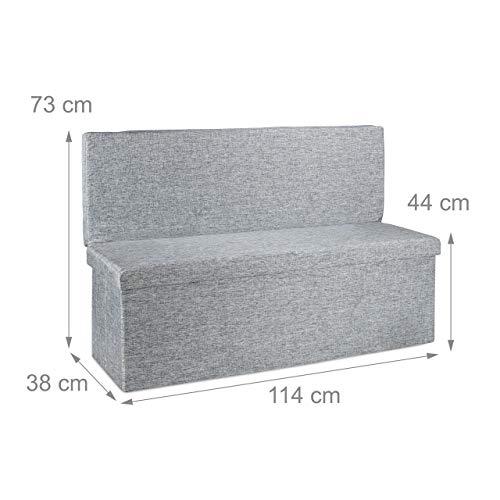 Relaxdays Faltbarer Sitzhocker mit Lehne XL HBT 73 x 114 x 38 cm stabiler Sitzcube als Fußablage Sitzbank und Sitzwürfel aus Leinen als Aufbewahrungsbox mit Stauraum mit Deckel für Wohnraum, grau - 4