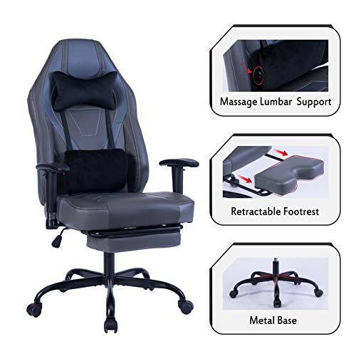 Blue Whale Gaming Chair PC Computer Game Chair with Footrest Racing Gamer Chair Ergonomic Office Chair High-Back PU Leather Computer Desk Chair with Lumbar Cushion and Headrest (8340Grey)