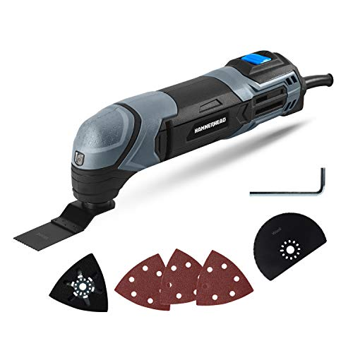 Hammerhead 2.2-Amp Oscillating Multi-Tool with 1pc Flush Cut Blade, 1pc Semicircle Saw Blade, 1pc Sanding pad, 3pcs Sanding Paper - HAMT022