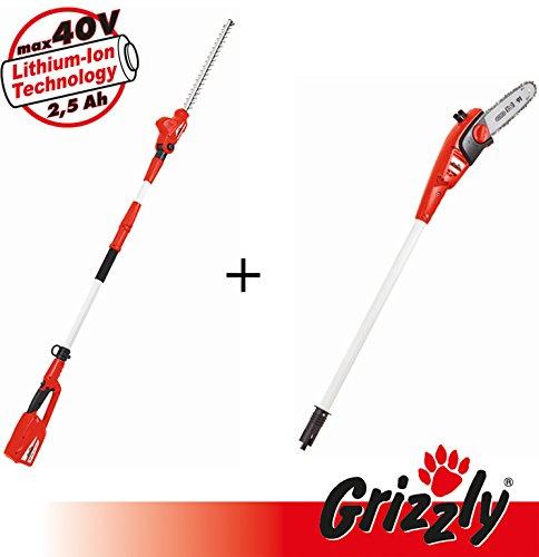 Grizzly Kit 2 en 1 comprenant 1 taille-haies télescopique et 1 bouton de courroie télescopique pour un travail confortable en hauteur, des poignées avec manche télescopique et sangle d'épaule 40 V sans batterie ni chargeur