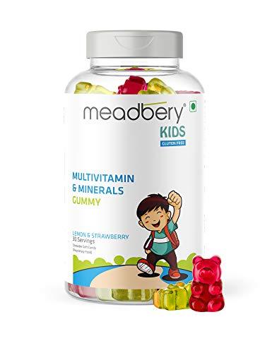 Meadbery Multivitamin and Mineral Gummy Bears Jelly, Gluten-Free Formula with Vitamin C, Vitamin D, Vitamin B12 & B6, Zinc for Kids Growth, Development & Immunity-30 Gummy Bears, Pack of 1