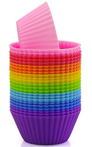 Mirenlife Silicone Cupcake Liners Reusable Silicone Baking Cups Nonstick Muffin Molds Easy Clean Silicone Muffin Liners, 24 Pieces in 8 Rainbow Colors