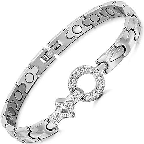 RainSo Elegant Womens Titanium Steel Health Magnetic Therapy Bracelets Pain Relief for Arthritis 3500 Gauss with Gift Box Adjustable(Silver)